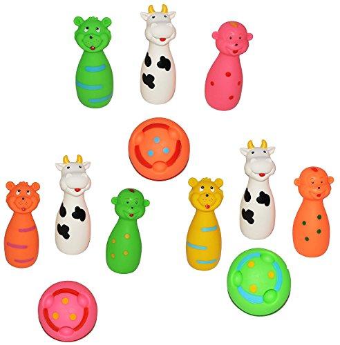 12 tlg. Set Quietscher als Kegelspiel mit Ball + lustigen Gesicht - für Baby ab 0 Monate - Quietschtier / Figur Quietschfigur Kegel Bowling Badefiguren / Badetiere - Quietsch / Badewanne - Badewannenspielzeug Baby´s - auch für Hunde geeignet / Gummifigur Gummi