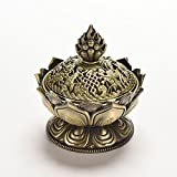 JETTINGBUY 7CM Chinese Bronze Copper Lotus Flower Shape Statue Incense Burner Censer, Bronze