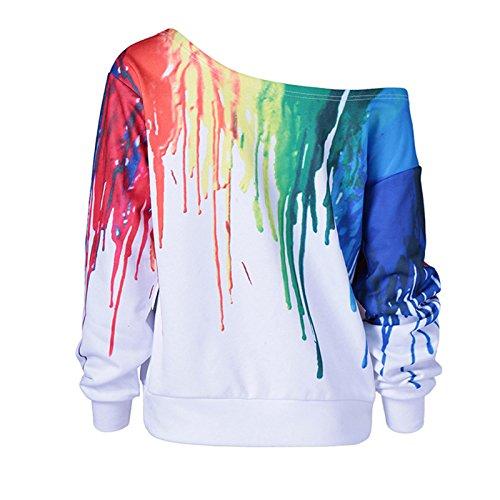 Donne maniche lunghe scollo tondo Casual Moda Stampare Sciolto Pullover T-shirt Maglietta Tops Sciolto Bianco
