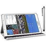 ebestStar - für Samsung Galaxy Tab Pro 8.4 SM-T320 [Genaue Abmessungen Ihres Geräts : 219 x 128.5 x 7.2 mm, bildschirm 8.4''] - Hülle mit Klappe aus Kunstleder und um 360° drehbarem Ständer + Stilett, Farbe Weiss