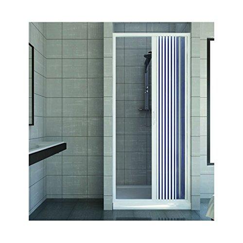 Duschkabine mit einer Tür Öffnung Vorderseite. Hergestellt In PVC ungiftig selbstverlöschend Reduzierbare durch den Schnitt der Schiene. Farbe weiß. (Duschkabine Schiebetür)