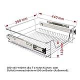 FDS COSTWAY Küchenschublade Teleskopschublade Korbauszug Schrankauszug Schublade Schlafzimmerschublade Küchenregal Silber Größenwahl (50cm)