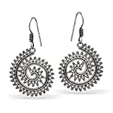 #9: Jaipur Mart Wedding Collection Handmade Traditional German Silver Oxidised Dangle & Drop Earrings For Women (Silver, Queen,1 Pair)