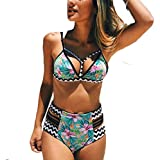 Fanmay Damen Push up Bademode Badeanzüge Retro High Waist Blumendruck Summer Beach Triangel Bikini Beachwear Bademode (S, Hellblau)
