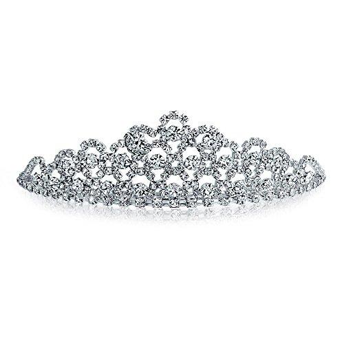 Bling Jewelry Rhinestone Crystal Crown Boda Tiara nupcial chapados en plata.