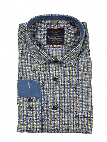 Casamoda Herren Hemd Blau-Gelb