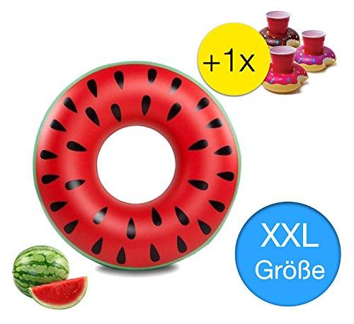 Riesen XXL 90 cm aufblasbarer Donut Wassermelone Melone rot Schwimmring Schwimmreif Luftmatratze Schwimmkissen für Pool, mit 1x aufblasbaren Getränkehalter für Cocktails, Getränke uvm.