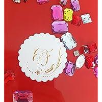 10 Stk Gold schimmernde Initialen des Brautpaares, Tisch-Deko, Hochzeitsdeko, Etiketten