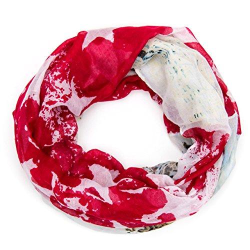 MANUMAR Loop-Schal für Damen | Hals-Tuch in rot mit Sterne Motiv als perfektes Herbst Winter Accessoire | Schlauchschal | Damen-Schal | Rundschal | Geschenkidee für Frauen und Mädchen