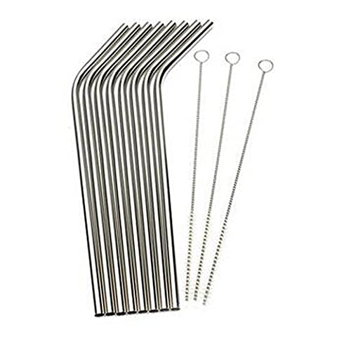 Dimart Stainless Steel Drinking Straws Strong Reusable Set Of 8 With 3 Cleaning Brushes(Silver)