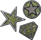 Strass Glitzer Sterne Aufnäher Patches Applikationen mit Glitzer Strass Sterne zum aufbügeln
