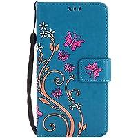 LG K8 Hülle, LG K8 Case, Cozy Hut [Premium Leder Serie] Design Schmetterlings-Blumen Muster Kunstleder Ledertasche Schutzhülle PU Leder Flip Tasche Case mit Integrierten Kartensteckplätzen und Ständer für LG K8 Lederhülle Magnetverschluss Hülle - blau