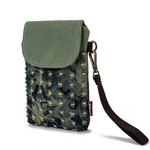 Katloo Mini Schultertasche Damen Wristlets Tasche Universal Handytasche Handtaschen Umhängetasche Kleine Geldbörse Portemonnaie Frauen für Einkaufen Anfragen Reisen + Nagelknipser (Grün)