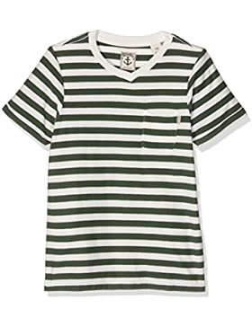 Scotch & Soda Jungen T-Shirt Striped V-Neck Tee with Oil Wash