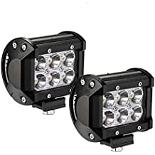 (Renewed) AllExtreme EX6FW2P 6 LED Fog Light Bar Waterproof Spot Beam Driving Cube Worklight with Mounting Bracket for Motorcycles and Cars (18W, White Light, 2 PCS)