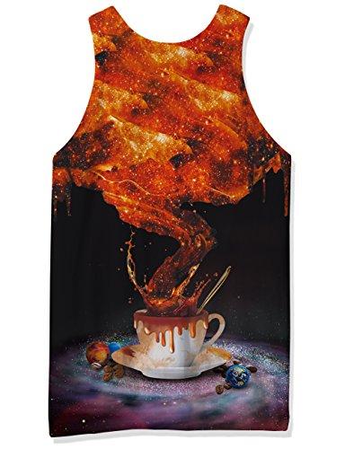 Chicolife 3D Grafik Drucken Lustige Ärmellose T-Shirts Muster Realistische Weste Underwaist Gym Tanktops für Herren Black Coffee