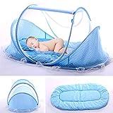 Lit Bébé, Berceau de voyage pliable, pour bébé avec Tente moustiquaire, Lit d'appoint léger avec matelas épais,1 kg, pour bébés de 0 à 3 ans size 110 * 65 * 60cm (bleu)