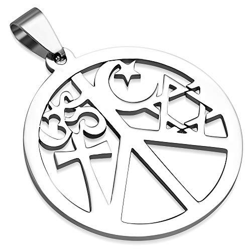 BlackAmazement 316L Edelstahl Anhänger Leder Kette Halskette Symbol Frieden Religion Hinduismus Christentum Judentum Islam Silber Damen Herren (Anhänger mit Kette)