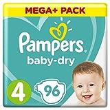 Pampers Baby-Dry Windeln Größe4 (9-14kg), Luftkanäle für atmungsaktive Trockenheit die ganze Nacht, Mega Plus Pack, 1er Pack (1 x 96 Stück)