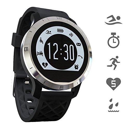 OOLIFENG Bluetooth Smartwatch IP68 Wasserdicht Herzfrequenz-Messgerät Fitness Tracker Schwimmen Gesundes Armband für IOS und Android , Black