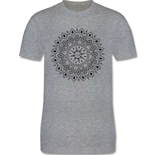 Wellness, Yoga & Co. - Boho Mandala Yoga Sketch - Herren Premium T-Shirt Grau Meliert