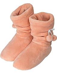 Damen-Fleece-Hausschuhe mit rutschfester Sohle und Bommeln am Schaft