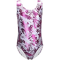 One-piece Fashion Shining Kiss Letter Floral Roses Print Gymnastics Leotard for Little Girls