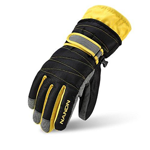 Rmine Ski Handschuhe Winddicht Regendicht Thermohandschuhe für Herren Damen Junge Kinder (Schwarz, L (Damen))