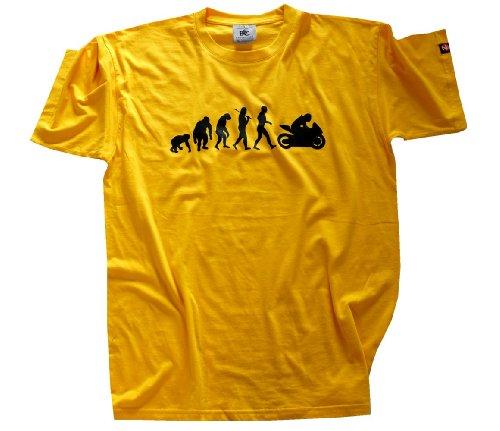 Shirtzshop Erwachsene T-Shirt Original Motorrad I Biker Evolution, Gelb, XXL, sshop-evomotsp-t