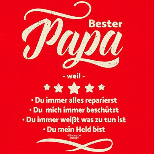 Geschenk-Set :: Bester Papa weil Herren T-Shirt inkl. Urkunde : Geschenkidee als Geburtstagsgeschenk Weihnachtsgeschenk Vatertagsgeschenk Farbe: rot Rot