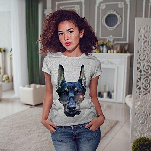 wellcoda Cool Chien Doberman Animal Femme S-2XL T-Shirt Gris