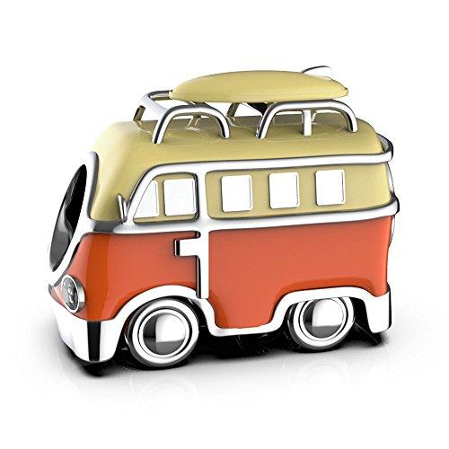 VW Camper - Sterling Silber S925 Charm für Damen Pandora Armband in einer Geschenkbox - Orange & Sahne