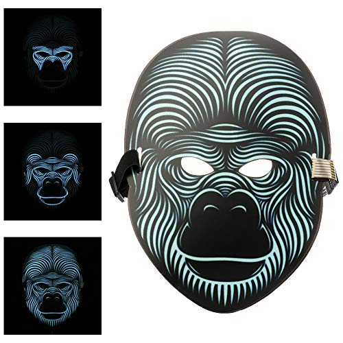 (Asdomo Scary LED Halloween Maske, Horror Light Soundaktiviert Cosplay Glowing Maske Kostüm für Halloween Christmas Festival Party Costume Mask, Batterie Angetrieben(Nicht enthalten))
