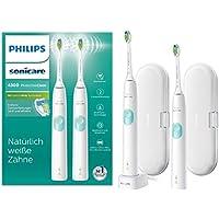 Philips Sonicare ProtectiveClean 4300 elektrische Zahnbürste HX6807/35 – 2 Schallzahnbürsten mit Clean-Putzprogamm, Andruckkontrolle, 2 Reise-Etuis & Ladegerät – Weiß