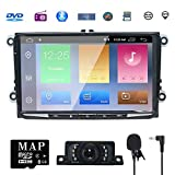 NVGOTEV 9 Inch Single Din Android 7.1 CAR Stereo Radio Video Receiver fit for VW Jetta Passat Golf Polo Tiguan Quad Core System 2GB RAM GPS Navigation Bluetooth USB Radio WiFi 4G OBD2 DVR DVB-T DAB+