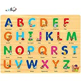 Negi Wooden Colorful Educational Puzzle Board Tray For Kids With Knobs With 8 Different Variants ABC Alphabets Figures, 28.5 X 20.5cm