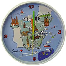 Nadal Reloj Grande Mapa España, Multicolor, 24,9 x 24,9 x 3,9 cm