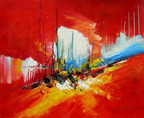 Tableau abstrait rouge 60/90 cm. Toile abstraite horizontale, peinture à l'huile montée sur châssis en bois. Tableau abstrait entièrement exécuté à la main. Tableau signé.