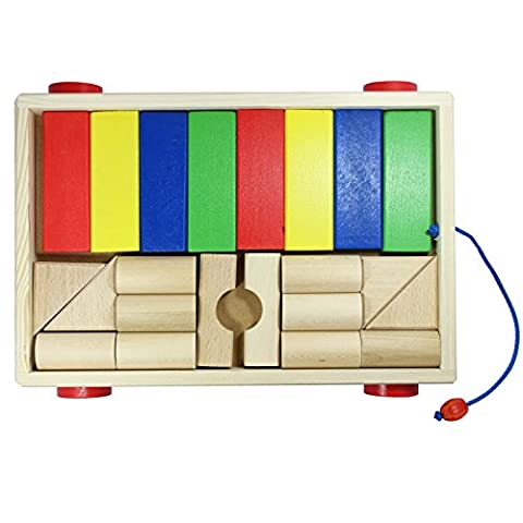 Children's Wooden Toy Small Pull Along Trolley with Natural Wood and Coloured Building Blocks 22 Pieces