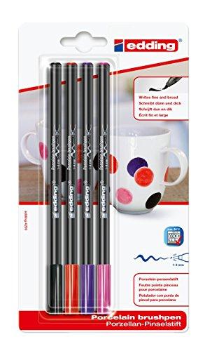 edding Porzellan-Pinselstift edding 4200, 1-4 mm, 4er Blister, sortiert