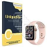 UniqueMe [6 pièces] pour Protection écran Apple Watch 44mm séries 4 / 42mm séries 3/2/1, [Adsorption anhydre] [Film Flexible] Soft HD TPU Clear Anti-Rayures avec Garantie de Remplacement à Vie