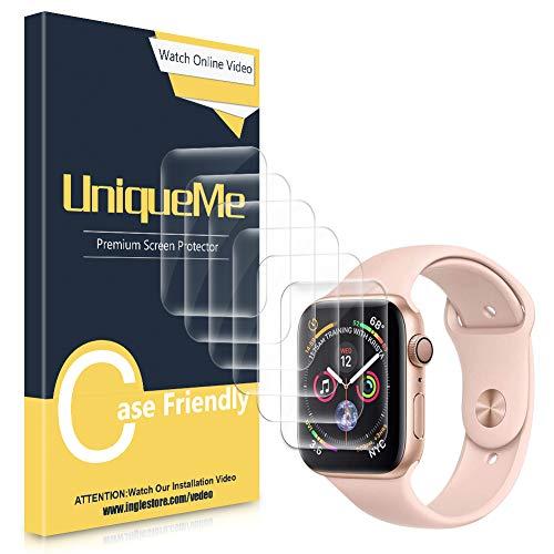 UniqueMe [3 Stück] kompatibel mit Apple Watch 42mm / 44mm schutzfolie, [Wasserfreie Adsorption] [Flexible Folie] Soft HD TPU Clear Anti-Scratch Bildschirmschutzfolie mit lebenslanger Ersatzgarantie