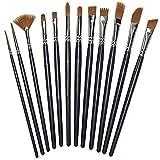 Pechon 12 Stück Nylon Haar Pinsel-Set für Acryl Watercolor und Ölgemälde, schwarz
