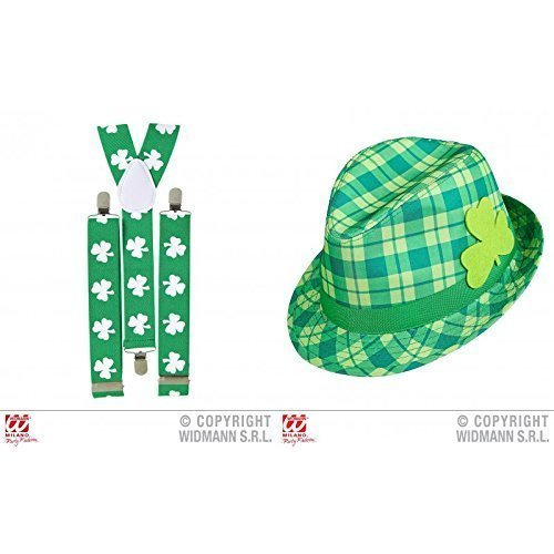 Ska / Trillby Hut / grün karriert mit Hosenträgern für St. Patrick's Day als (Grün St Patricks)
