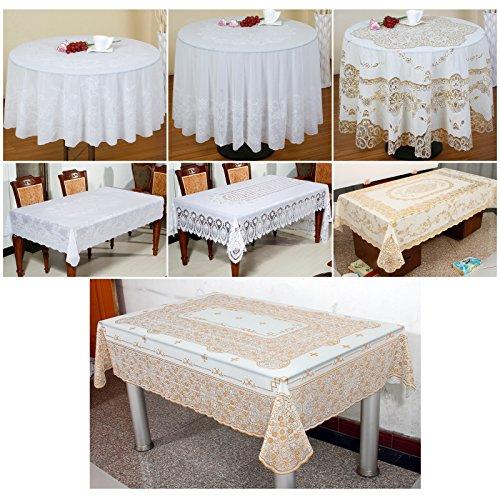 Preisvergleich Produktbild OUBO Cover Tabel Cloth Tischdecke Tischtuch Tafeltuch Spitze Garten weiß rund eckig