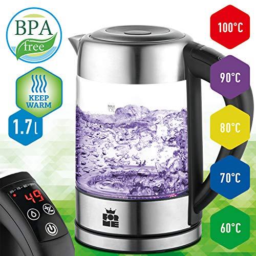 Glas Wasserkocher 1.7L | LED Beleuchtung Teekessel | Metallteile | Glaskessel mit Edelstahl Boden | BPA Frei Glaswasserkocher | Warmhaltefunktion | Temperatur einstellbar | Temperaturwahl 60-100°C
