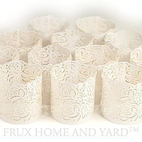 FLAMELESS TEA LIGHT VOTIVE WRAPS- 48 White laser cut decorative