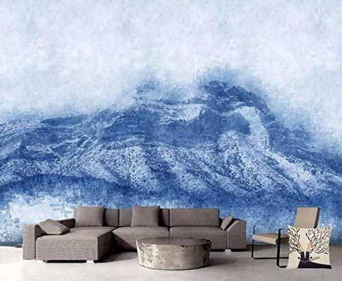 Landschaft Des Wasserfalls Der Gebäudewand 3D3D Wallpaper Blue Mountain Landschaft Moderne Moderne Tapeten Für Wohnzimmer Schlafzimmer Tv Wanddekor, 350 Cm * 245 Cm - Wallpaper Mountain Blue