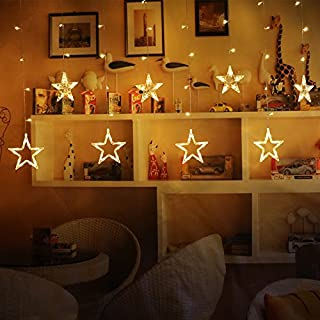 Amzdeal Star Curtain Lights, 2M Fairy String Lights with 12 Stars 138pcs LED, 8 Modes Window Curtain Lights, Fairy Lights for Christmas/Wedding/Party/Garden Decorations(Warm White)