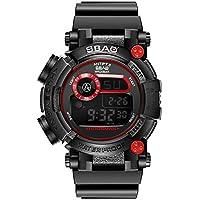 WENY Reloj Digital electrónico de los Deportes de los Hombres Ocasionales a Prueba de Agua Reloj analógico LED Deportes Correa 5 Colores (Color : Rojo)